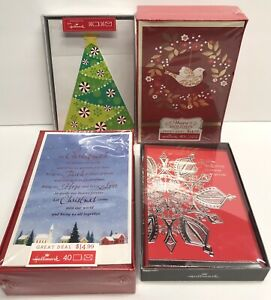 Hallmark Christmas Cards Lot Of 4 Different Card Packs Total Of 112 Cards