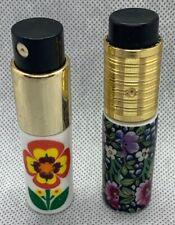 2 VINTage LIMOGES Step FRANCE ~ Austria SPRAY PERFUME Floral ATOMIZER BOTTLES