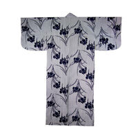 "Japanese Yukata Kimono Robe Sash Belt Women 58"" Cotton Iris Flower Made in Japan"