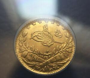 1910 Turkey, Ottoman, AH 1327 Year 2 Gold 25 Kurush Gold Coin ANACS MS 64