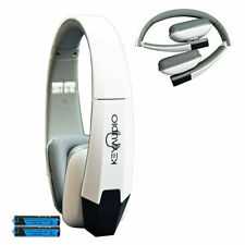 Wireless IR Universal Folding Rear TV DVD Headphones Headset White