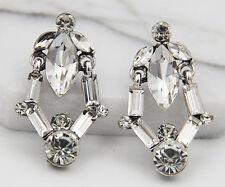 Long Ear Stud Hoop earrings 280 Woman's White Crystal Rhinestone Silver Plated