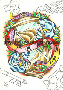 Original painting colorful traditional tattoo art Snake rose Hourglass ink