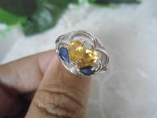 Natural CITRINE, BLUE SAPPHIRE & CZ Sterling 925 Silver Flower RING Size 8.5