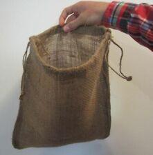 "2 Burlap Bags 12"" X 14"" With Drawstring Sack Gunny Feed Bag Tow Sack Gift"