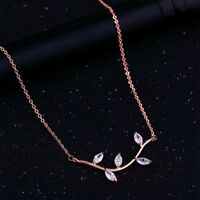 "Vintage 0.18Ct Marquise Cut Diamond 14k Rose Gold Over 18""Chain Necklace"