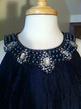 navy cobalt blue 8 jeweled bib party dressy  formal dress Womens