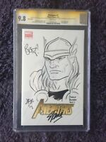 AVENGERS #1 THOR SKETCH - CGC 9.8 SIGNATURE SERIES SIGNED x4 STAN LEE ROMITA etc