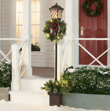 Christmas Lamp Post Outdoor Lighting with Wreath Pre-Lit Yard Decoration