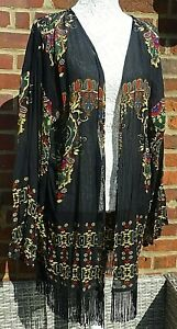 Ladies Long Sleeved Open Fronted Kimono-Tassel Hem-Black/Multi- UK Size 22 NEW