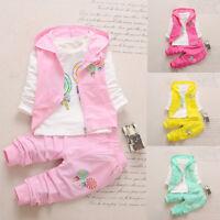 3PCS Toddler Kids Girl T-shirt Top+Hooded Waistcoat+Long Pants Suit Clothes 2018