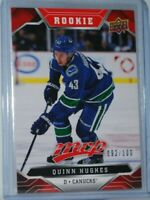 2019-20 Upper Deck MVP Rookie RC Red Script #248 Quinn Hughes /100 Vancouver