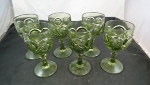 6 Vintage Red Cliff Glass KNOBBY BULL's EYE Green Water Goblet Pressed Star