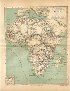 1885 AFRICA MADAGASCAR MOST MAJOR EXPEDITIONS JOURNEYS Antique Map