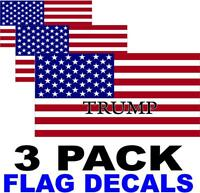 3 PACK - TRUMP   - American Flag USA Decal - PATRIOTIC STICKERS