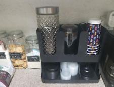 Flume 6-Compartment Upright Coffee Condiment and Cups Organizer - Black