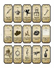 Valentine steampunk apothecary label stickers set of 15 scrapbooking crafts