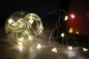 Set 20 LED white love hearts fairy lights Christmas party XMAS Valentines gift