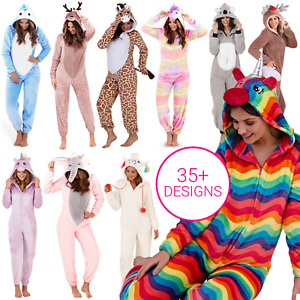 1Onesie All In One Fleece Pyjamas Womens Girls Novelty Hooded Character Animal