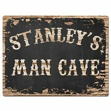 PP1854 STANLEY'S MAN CAVE Plate Chic Sign Home Room Garage Decor Birthday Gift