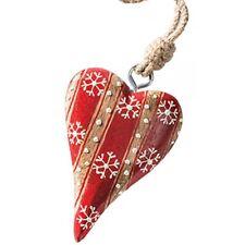 Namaste Rojo Blanco tradicional corazón Árbol De Navidad Decoración de comercio justo