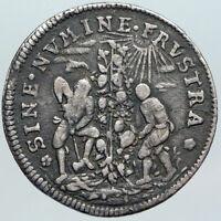 1700's SWITZERLAND Swiss Canton of BASEL Men Tend TREE Art Silver Medal i89197