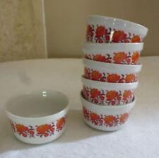 6 ramequin vaisselle porcelaine Sarreguemines Digoin décor vintage fleur orange