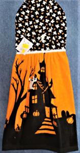 "**NEW** Handmade ""Halloween Haunted House!"" Hanging Kitchen Hand Towel #2843"