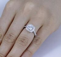 925 Sterling CZ Halo Silver Engagement Wedding Band Ring Women's Size 3-12 SA52E