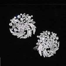 SET OF 2 CRYSTAL RHINESTONE DIAMOND NAPKIN RING HOLDERS - FLORAL BOUQUET
