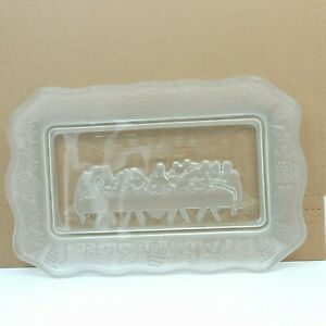 Tiara Indiana Frosted Glass The Lord's Last Supper Bread Tray Plate Clear