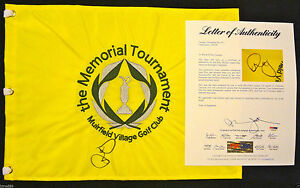 RORY MCILROY SIGNED 2012 MEMORIAL TOURNAMENT GOLF PIN FLAG 2018 MASTERS PSA J3