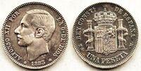 España-Alfonso XII 1 Peseta 1883*18-83. Madrid. EBC-/XF-. Plata 5 g. Escasa