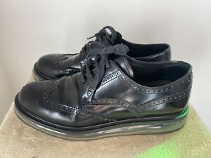 PRADA Wingtip Lace Up Black Leather Sneakers 40 Eur 9.5 US (with defect)