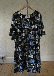 YUMI black blue & white floral print tunic ruffle dress UK 24 3/4 sleeves