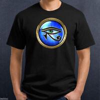 Gold Egyptian Eye of Ra Horus Symbol T Shirt 100% Cotton Gods Magic Gift Glyph