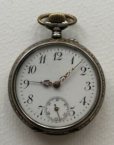 Antike Herren Taschenuhr 800er Silber Gehäuse 46mm Lepine Emaille Zifferblatt