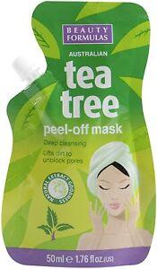 Beauty Formulas Tea Tree Peel Off Mask Deep Cleansing 50ml Unclogs Pores Face