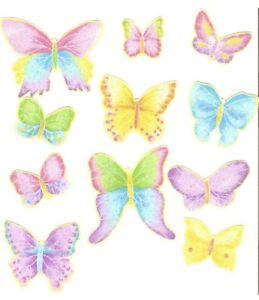 10 Little Pastel Butterflies - Iron On Fabric Appliques