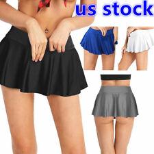 US Sexy Women Pleated Mini Skirt Tennis Stretchy Micro Short Skirt Short Costume