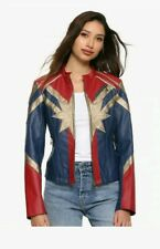 Cool Halloween Captain Marvel Cosplay Flight Bomber Costume faux Leather Jacket