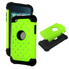 Lime Green Hybrid Rhinestone silicon Apple iPod Touch 4th gen Cover Case