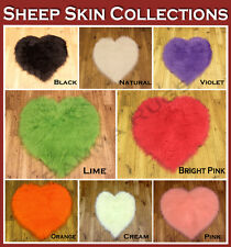 Cream Heart Plain Soft Fluffy Bedroom Sheepskin Style Fur Clearance Rug Washable