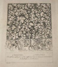 RARE ANTIQUE *CHARACTERS CARICATURES* BARLOW ETCHING aft WILLIAM HOGARTH