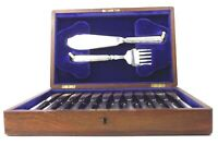 Antique Silver Plated Canteen of Fish Cutlery Knives, Forks & Servers 26 pcs