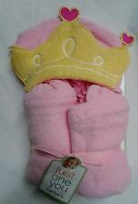 NEW Carters Just One You Hooded Wrap Towel w/ Princess Crown - Pink Baby Towel