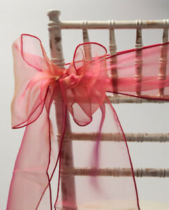 100 TWO TONE RED ORGANZA CHAIR SASHES - CHAIR BOW - WEDDING EVENTS PARTY DECOR