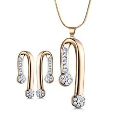 Lovely Swarovski Crystal Earrings Necklace Silver & Gold Filled Lady Jewelry SET