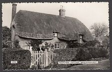 Postcard Brockenhurst nr Lymington New Forest man and cat at Thatched Cottage RP