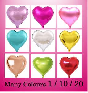 "1/10/20 Love Heart Foil Balloons 18"" / 45cm Wedding Birthday Party Decoration"